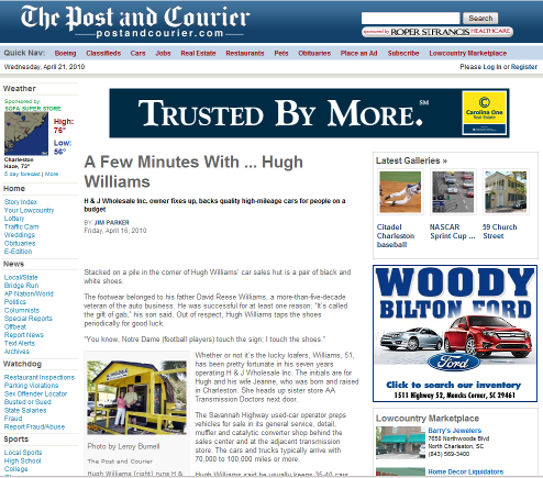 A Few Minutes With ... Hugh Williams, The Post and Courier Article (April 16, 2010)